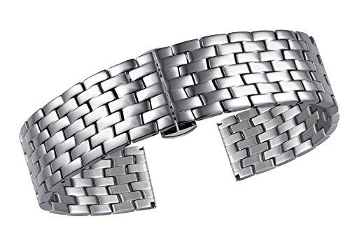 16mm Luxus Silber ss Uhrenarmbänder für Frauen Inox Stahl mit doppelten Verriegelung Schmetterling Verschluss geraden Ende