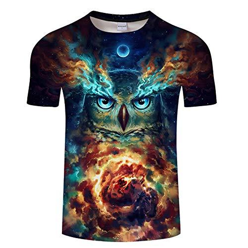 Star source Galaxy Owl Personality - Kurzärmliges, kreatives T-Shirt mit rundem Kragen und 3D-Druck für die Summer Street @ XXL_Lucky -