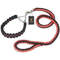 Pet Online Medio grande PERRO PERRO PERRO perro labrador dorado Collar Cadena Cuerda P productos de cuerda de tracción de cadena,rojo y negro,medio, por favor