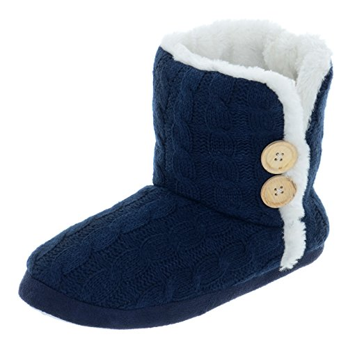 Ladies Cable Knit Bootie Style Slippers With Hard Non Slip Soles -...