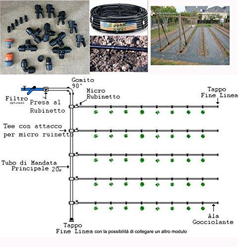 kit irrigazione giardino goccia orto impianto completo modulare 50mq (Irrigazione A Goccia)