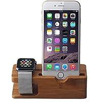 Urvoix Soporte cargador para Apple Watch/iPhone, madera de bambú, cargador de estación [base de carga]