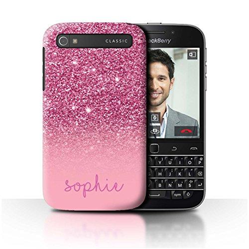 Stuff4® Personalisiert Individuell Glitter Effekt Hülle für BlackBerry Classic/Q20 / Rosa Design/Initiale/Name/Text Schutzhülle/Case/Etui