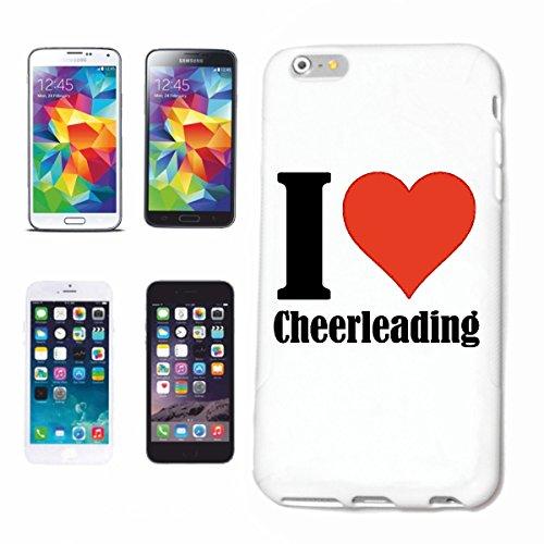 """Handyhülle Samsung Galaxy S5 \""""I Love Cheerleading\"""" Hardcase Schutzhülle Handycover Smart Cover für Samsung Galaxy S5 … in Weiß … Schlank und schön, das ist unser HardCase. Das Case wird mit einem Klick auf deinem Smartphone befestigt"""