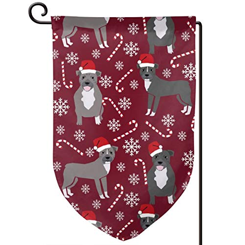 Pitbull Peppermint Stick Winter Candy ca Polyester Garden Flag House Banner 12.5 x 18 inch, Two Sided Welcome Yard Decoration Flag for Wedding Party Home Decor - Peppermint Candy Crafts