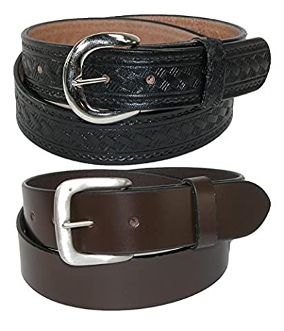 CTM Men's Leather 1 3/8 Inch Removable Buckle Belts (Pack of 2), 40, Black Basketweave and Brown Plain