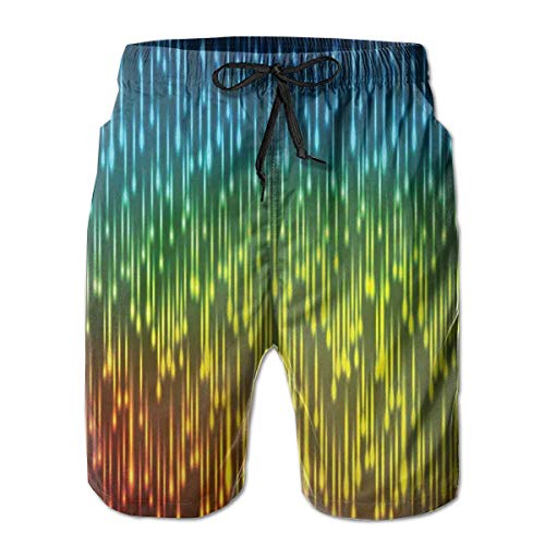 jiger Men Swim Trunks Beach Shorts,Galaxy Universe Outer Space Inspired Technical Neon Rain Modern Abstract Art Print,Quick Dry 3D Printed Drawstring Casual Summer Surfing Board Shorts M