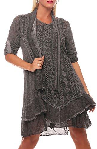 Kostüm Italien Frauen - Malito Damen Strickkleid mit Schal | Maxikleid mit Spitze | schickes Freizeitkleid | Pullover - Kostüm 6283 (dunkelgrau)