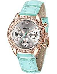 Time100 Women's Fashion Luxury Sport & Casual Cystal Big Face Three-Subdial Dial Multifunction Black White Blue Yellow Pink Purple Leather Strap Plated Alloy Case Laides Quartz Watches #W50298L