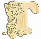 Farbklecks Collection Holzbuchstabe Giraffe T - 10cm Höhe - Buchstabentiere - Holzbuchstaben - Holz-Buchstabe