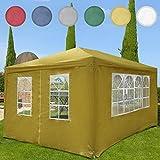 Miadomodo - Carpa pabellón de jardín beis de 3 x 4 m