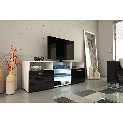 Kora meuble tv 150cm avec éclairage led - noir brillant
