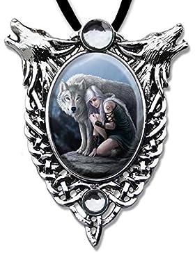 Mädchenkette mit Wolf Anhänger Amulett Cabochon mit Halsband Schmucksäckchen und Karte 07