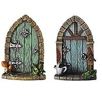 Fiesta Studios Miniature Pixie, Elf, Fairy Door - Tree Garden Home Decor - Fun Quirky Gift Figurine - H9cm (Both)