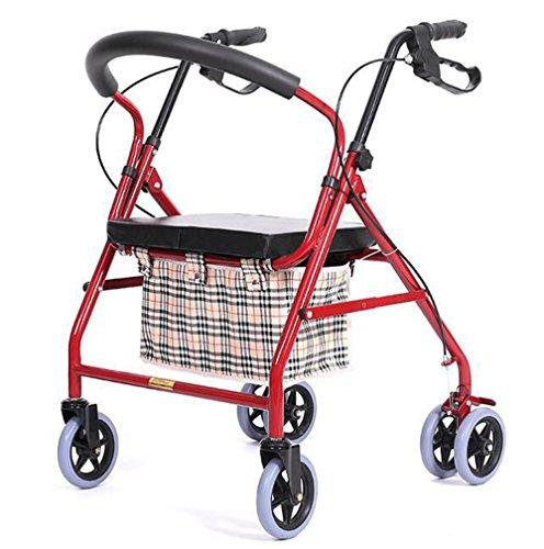 Andador de acero inoxidable rojo Colores Walker plegable carrito 6ruedas–Andador (con asiento y cesta