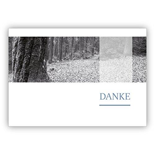 16 Grußkarten (16er Set): Schwarz Weiß Foto Trauer Dankeskarte mit friedlichem Wald: Danke