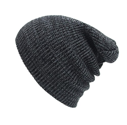 Tongshi Unisex de la manera del casquillo del invierno caliente del tocado de punto de ganchillo sombrero del esquí trenzado turbante (Gris