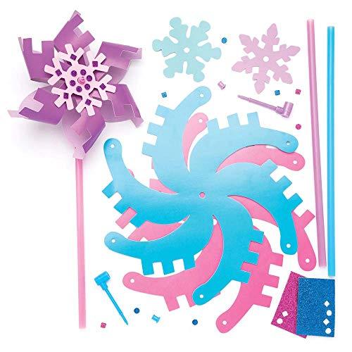 Baker Ross Kits de moulins à Vent Flocon de Neige (Lot de 6), Loisirs créatifs et décorations de Noël pour Enfants