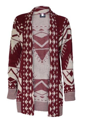 (womens drape front aztec long cardigan)(mtc) femmes aztèque longue cardigan (wine/stone) vin/pierre