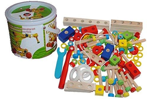 Preisvergleich Produktbild 145 tlg. Konstruktions Set Holz Konstruktion Kinder Kind Schrauben Bauen bunt