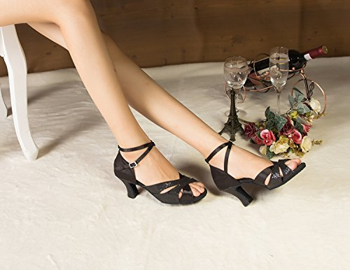 Minitoo – th120 tacco alto raso matrimonio ballo Latina taogo Dance Sandals Black