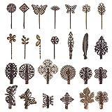 PandaHall Elite - 26 Pcs Pince à Cheveux Vintage Epingle à Cheveux Rétro Barrettes à Cheveux Pince Feuille Fleur Papillon en Laiton pour Filles et Femmes, Bronze Antique