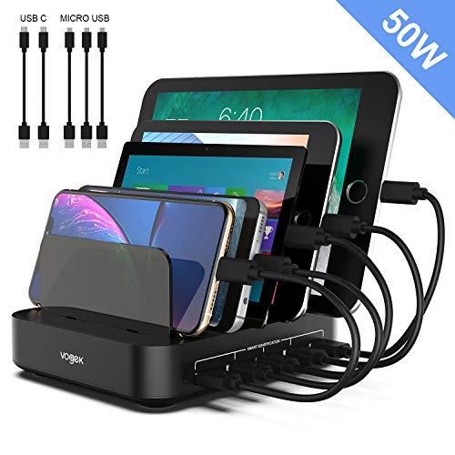 VOGEK Multi USB Ladestation, 5 Ports 50W Handy Ladestation Smart Ladestation Dock & Organizer für mehrere Geräte Handy Tablet und Anderen USB-Geräten(2 USB-C und 3 Micro USB Ladekabel inkl.) (Handy-ladestation)