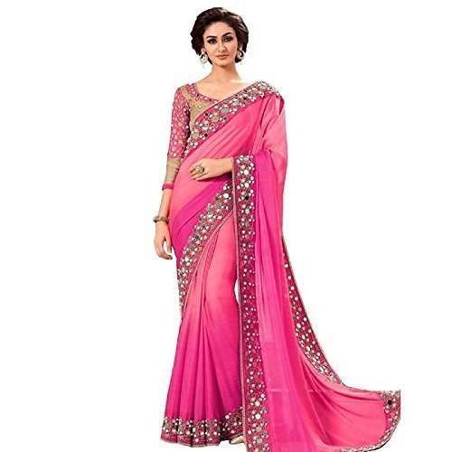 Shiroya Brothers Women's Georgette Embroidered Saree with Blouse Piece (pink_m_Free Size)