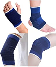 ARZ Combo Pack of Palm-Ankle-Knee-Elbow Support - 8Pc Pack
