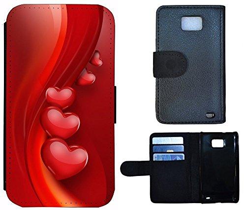 Flip Cover Schutz Hülle Handy Tasche Etui Case für (Apple iPhone 6 / 6s, 1144 Buddha Lotusblume Braun Pink) 1147 Herz Herzen Rot