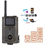 """Mengen88 Jagd-Cam 120 ° 16MP HD 1080P Infrared Night Vision Wildlife Camera Time Lapse 2.0""""Color LCD Display 3G SMS MMS SMTP Hunting Scouting-Überwachung"""