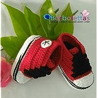 Patucos para Bebé Recién Nacido tipo Converse, 3-6 meses Rojo-Negro. Handmade. Crochet. España