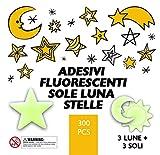 Adesivi fluorescenti Tillmann's l Sole XL, Luna XL e Stelle. 300 pezzi fluorescenti e brillanti al buio