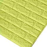Godagoda 3D Ziegel Tapete Wandaufkleber Selbstklebend Stereo Wandtattoo Papier für Schlafzimmer Kinderzimmer TV Hintergrund 60x30cm Fluoreszierend grün