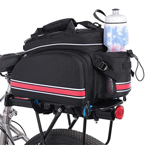 Outdoor Wasserdichte Multifunktions Tragbare Fahrrad Pack Bike Pannier Tragen Gepäck Paket Rack Packtaschen Rear Seat Trunk Bag Mit Regenschutzabdeckung Sitzpacktasche Fahrradpakete ( Farbe : Rot ) -