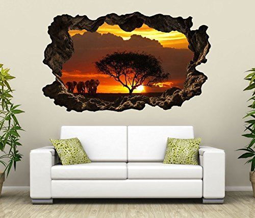 3D Wandtattoo Afrika Savanne Elefanten Safari Baum selbstklebend Wandbild Tattoo Wohnzimmer Wand Aufkleber 11L2076, Wandbild Größe F:ca. 140cmx82cm