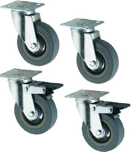 4 ruedas para muebles (caucho, 75 mm)