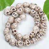 Wunderschöne Perle, 12 mm, 12 Stück, weiß gefärbt Edelstein Perlen, geschnitzt Totenkopf-Anhänger für Armband