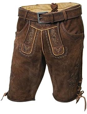 Originale Herren-Trachten-Lederhose, Kurze Bocklederne, mit Gürtel, Braun, Alle Größen