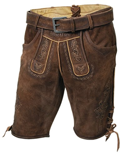 ren-Trachten-Lederhose, Kurze Bocklederne, mit Gürtel, braun, alle Größen (56) ()