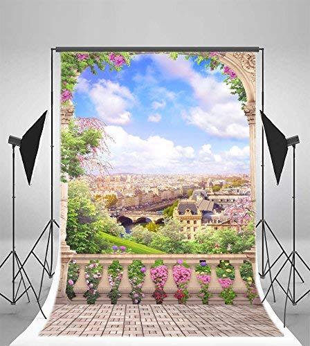 vrupi 5x7ft Vinyl Photography Background Paris Old Arch Beautiful View Aerial Landscape Balcony Stone Tile Floor Pillars Scene Wedding Girls Background Photo Studio Video Shooting Backdrops