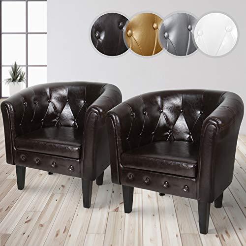 MIADOMODO Chesterfield Sessel aus Kunstleder und Holz   Bequem, mit Rautenmuster, Set verfügbar   Lounge Sessel, Clubsessel, Armsessel, Wohnzimmer Möbel (Braun, 2er)