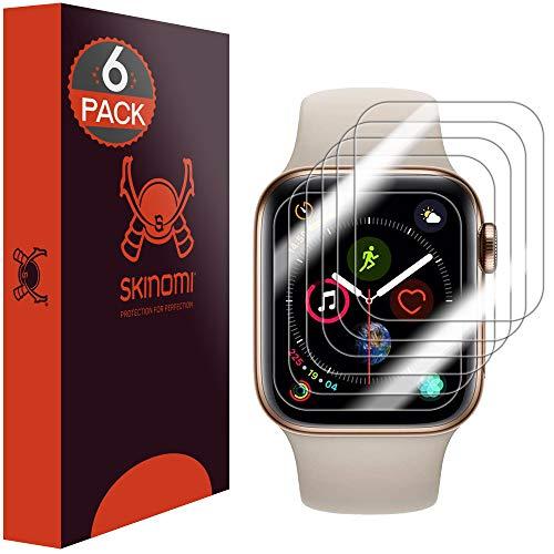 Skinomi TechSkin - Schutzfolie kompatibel mit Apple Watch Series 5 44mm, Vorderseite, Rückseite und Rahmen, 3er Pack