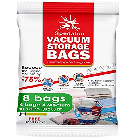 Spedalon - Lote de 8 bolsas de almacenamientoal vacío, reutilizables, incluye 4bolsas grandes (100x 80cm) y 4medianas (80x 60cm) y bomba de mano para equipaje de viaje, para ropa, edredones, ropa de cama, almohadas, mantas o