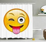 Abakuhaus Duschvorhang, Sarkastischer Smiley mit Ausgestreckter Zunge Modernes Digitale Lustiges Design Druck Mehrfarbig, Wasser und Blickdicht aus Stoff mit 12 Ringen Bakterie Resistent, 175 X 200 cm