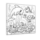 Bilderdepot24 Unterwassertiere - Ausmalbild auf Leinwand, aufgespannt auf Rahmen - Quadrat-Format - 30x30 cm - Eigene He
