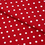 Hans-Textil-Shop Stoff Meterware Punkte 7 mm Weiß auf Rot