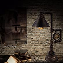 JRBB Estilo retro industrial agua Lampara de Escritorio decoracion reloj cafe Edison Bombilla Lampara Tubo de personalidad,Edison Ribbon