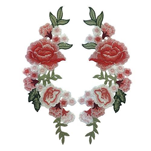 Blue Vessel Stickerei Seide Rose Blume Motiv Kragen Nähen auf Patch Applique Abzeichen Gestickt Büste Kleid -