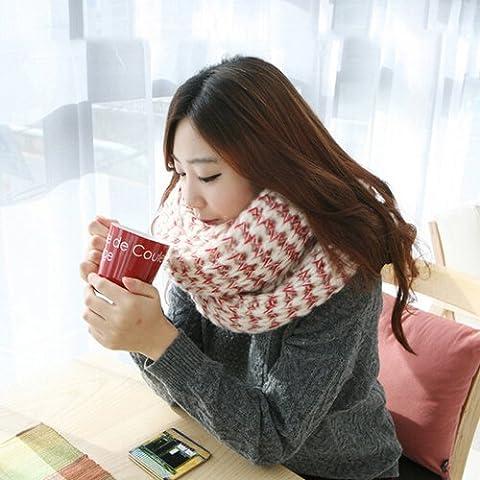 XMQC*Mohair sciarpa femmina spessa lungo inverno autunno si accoppia un maschio di tessitura, lavorazione a maglia scialle dual-use , Rosso --